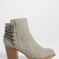 Gloria bootie with lace up back in gray | maurices
