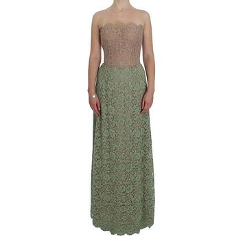 Dolce & Gabbana Green Floral Lace Pink Corset Maxi Dress