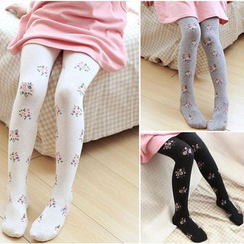 Baby Girl's Tights Stockings Fashion Cotton Print Flower Children Girls Kids Stockings Tights 6 Colors DQ050