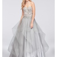 Appliqued Illusion Ball Gown with Ruffled Skirt | David's Bridal