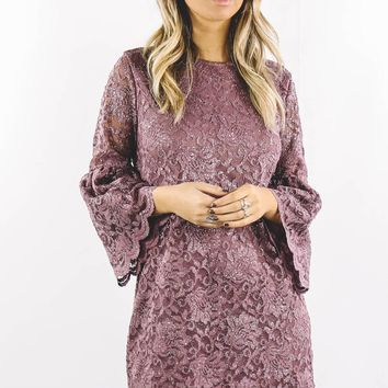 Sparkly Eyes Bell Sleeve Metallic Glitter Dress