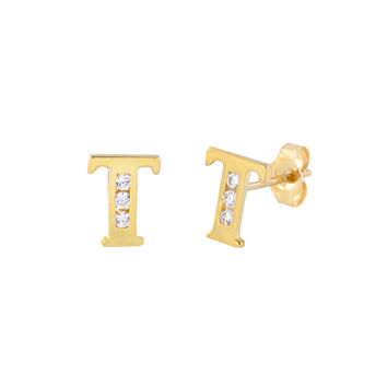 10k Yellow Gold Letter T Initial Stud Earrings Cubic Zirconia 7mm
