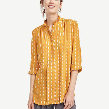Dot Stripe Ruffle Neck Blouse | Ann Taylor