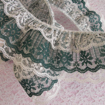 Gathered Triple Ruffled Lace, Natural and Hunter Green Lace, Apparel, Doll Clothes, Decorative Lace Trim, Lace for Journals, Crafting Lace