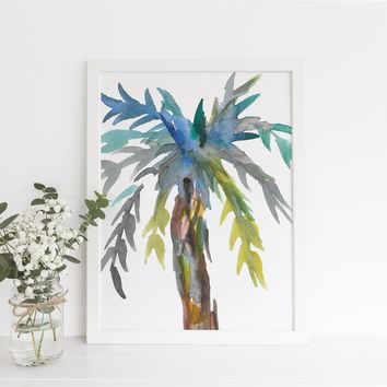 Watercolor Palm Tree Abstract Art Print