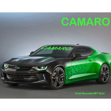 "Windshield Decal ""CAMARO"" Choose your Font and Color Sticker Banner"