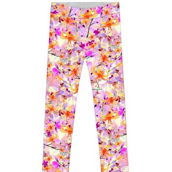 In Love Lucy Cute Baby Pink Floral Print Eco Leggings - Girls