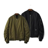 2017 men spring Autumn clothing streetwear casual jacket hip hop mens jackets and coats MA1 bomber Army green Jacket Outerwear