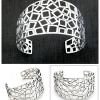 Hand Made Sterling Silver Cuff Bracelet - Bali Mosaic | NOVICA
