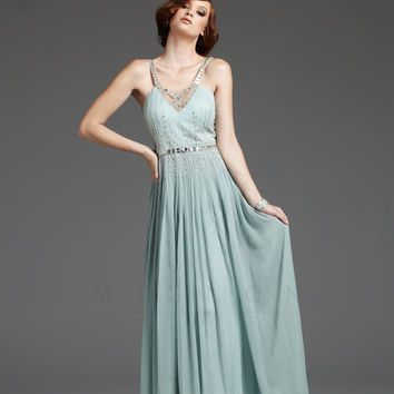 Seamist 1930's Style Grecian Silver Beaded Elegant Prom Dress - Unique Vintage - Prom dresses, retro dresses, retro swimsuits.