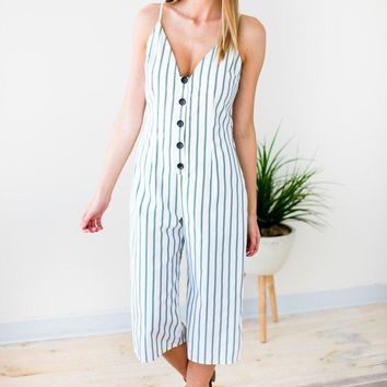 Surrounded By Water Stripe Crop Jumpsuit