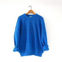 vintage boyfriend sweater. chunky knit sweater. loose knit sweater. basic blue sweater.