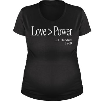 Love Is Greater Than Power Quote Maternity Pregnancy Scoop Neck T-Shirt