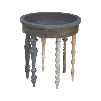Artifacts Round Side Table In Antique Smoke Antique Smoke