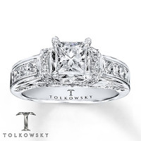 Tolkowsky Engagement Ring 1 3/8 ct tw Diamonds 14K White Gold