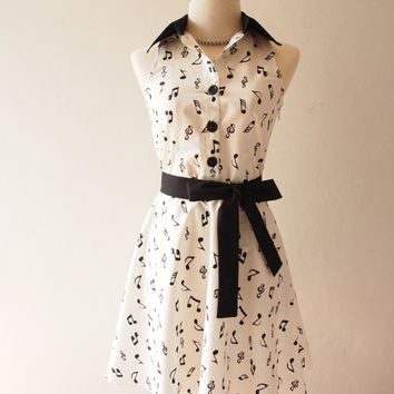 Music Lady White Music Note Dress Summer Sundress Shirt Dress Concert Retro Party Vintage Inspired Dress White Casual Midi Tea Dress - XS-XL