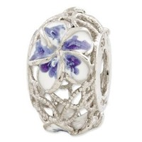 Genuine Reflection Beads (TM) Bead Charm. Sterling Silver Reflections Blue and White Enameled Flowers Bead. 100% Satisfaction Guaranteed.