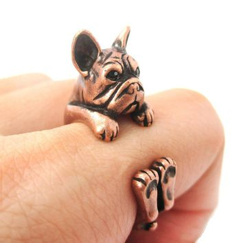 Realistic French Bulldog Dog Shaped Animal Wrap Around Ring in Copper | US Sizes 4 to 8.5