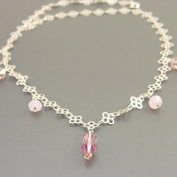 Sterling Silver Flower Chain Necklace With Pink Swarvoski Crystals