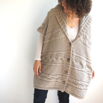 Boyfriend Cardigan - Ecru Cable Knit Poncho Tunic with Hoodie Plus Size Over Size