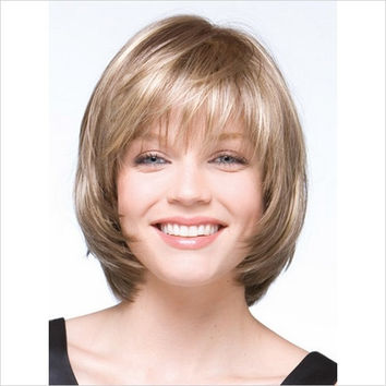 Sexy Short Straight Wig For White Women Cosplay Party Wig Synthetic Fiber Hair Light Blonde Short Wig