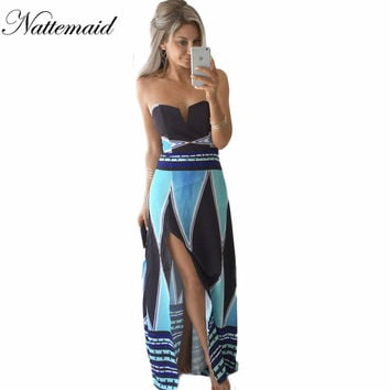 Elegant scoop strapless beach long maxi dress bohemian lace printed blue sexy sundress vestido de festa boho dress S-XL size