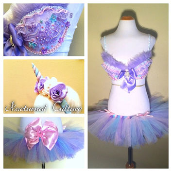 Pastel Unicorn Rave Outfit (Includes: Unicorn rave bra, Unicorn headband, & Tutu).