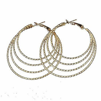 Basket Hill , Gold Tone, 4 Circle Sparkling 2.5 inch Hoop Dangle Earrings