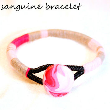 Pink Rope bangle, Bangle bracelet, Color block bracelet, Wrap bangle, Paracord bangle, Tribal bangle, Statement bangle, Polymer clay button