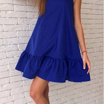 Ruffle Hem Swing Tank Dress 11232
