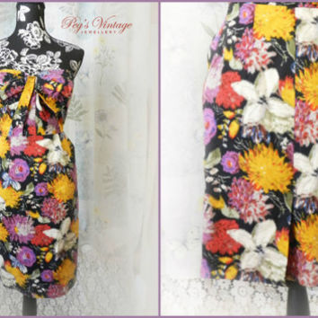 Vintage Hawaiian Floral Print Strapless Sundress, Wiggle Flower Dress, Moulinette Soeurs  Size Small