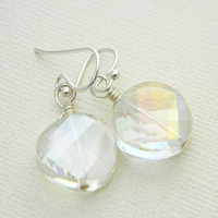 Clear Glass Wedding Earrings - Wire Wrapped Earrings. Clear White Crystal Beads Faceted. Simple Earrings. Jewelry Earrings. Bride Earrings.