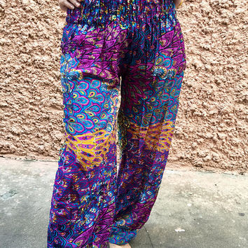 On sale Peacock Harem Hippie Pants Boho Festival clothing Indian style Beach Summer bohemian Yoga Vegan Cloth Fashion Women men Gift for her