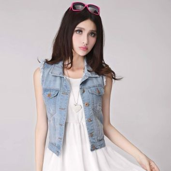 My New In Spring Womens Denim Vests New 2017 Spring Autumn Sleeveless Button Fashion Jeans Vest Tops High Quality Plus Size 3XL