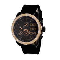 Black Rose Gold Geneva Watch Metal Oversized Mens Sport Rubber Band Designer
