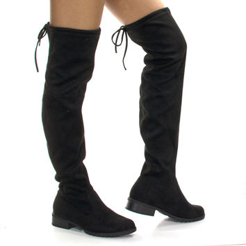 JalenH4 Black By Forever Link, Stretch Pull On Over Knee Thigh High w Back Lace & Block Stacked Heel