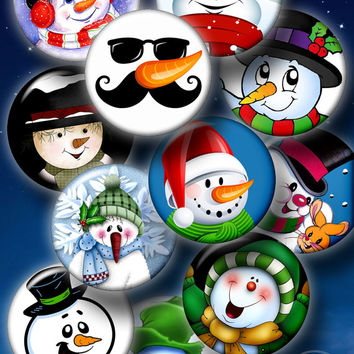 """Snowman - Christmas, New Year - Digital Collage Sheet - 1.5"""", 1.25"""", 30mm, 25mm, 1"""" circles  for Pendants, Bottle Caps, Crafts CG-977"""