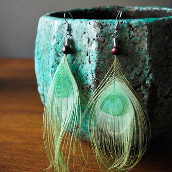 Light Green Peacock Feather Earrings