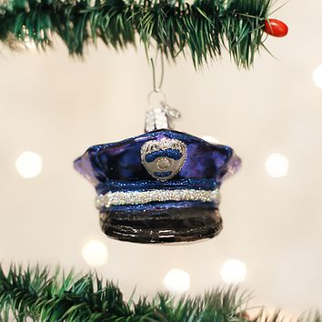 Old World Christmas Handcrafted Blown Glass Ornament -- Police Officer's Cap