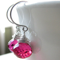 Hot Pink Earrings, Red Violet Quartz Briolettes, Bali Sterling Silver, Wire Wrapped Jewelry