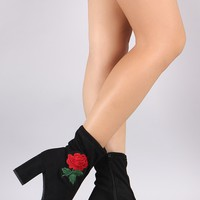 Delicious Embroidered Rosette Suede Chunky Heeled Booties