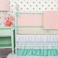 Mint & Coral Chevron Crib Bedding Set