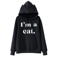 Fashion print long sleeve hooded blouse casual cat ear sweater