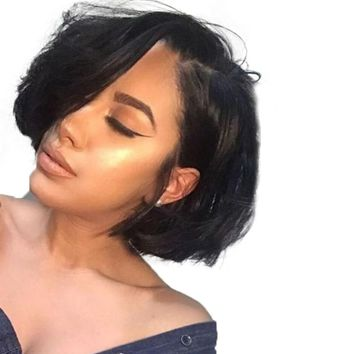 Bob Wig Short Human Hair 150% Density 12x6 Brazilian Remy Lace Front With Baby Hair