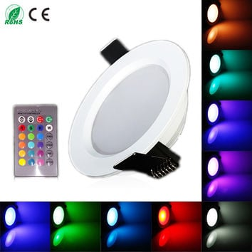 White Housing 300LM Round 10W LED Panel RGB Light Ceiling Lights With IR Remote Control Indoor Light For Foyer Bedroom Stage