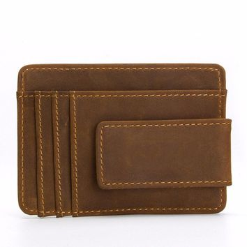 KUDIAN BEAR Leather Money Clips Magnet Minimalist Men Wallet