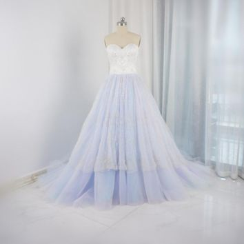 Silver Embroidery Luxury Beaded Rainbow Wedding Dresses Sweetheart Ball Gown Bridal Gown
