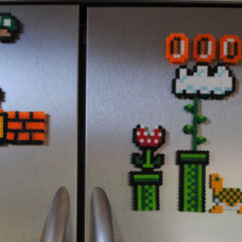 Super Mario Magnet Set, 24 Piece, Refrigerator, Fridge, Gaming, Perler Beads, Geekery, Housewares, Home Decor, Video Game, Nintendo, Classic