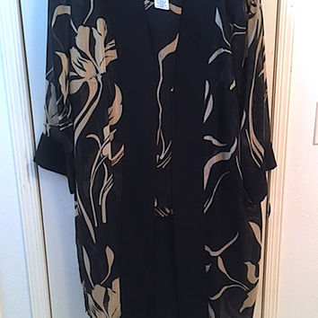 Vintage 80's Dana Kay Sheer 3 Piece Women's Pant Suit, Black & Tan Asian Inspired Flower Print, Tunic Jacket Tank Slacks Evening Wear Ladies