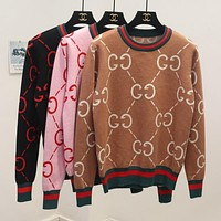 GUCCI Trending Women Casual GG Letter Print Long Sleeve Brief Paragraph Pullover Top Sweater Sweatshirt(6-Color)